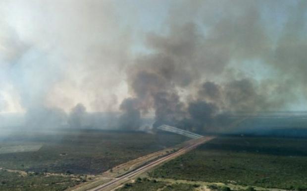 La ruta 35 está cortada otra vez por los incendios