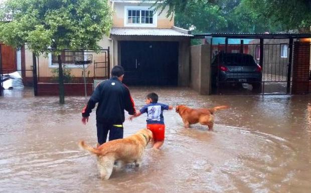 Santa Rosa en crisis: ya cayeron 236 mm, se desborda la laguna y hay evacuados